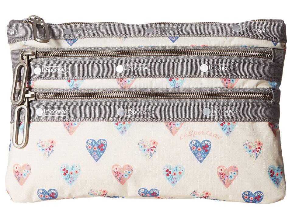 LeSportsac - Classic 3 Zip Pouch (Heartfelt) Bags