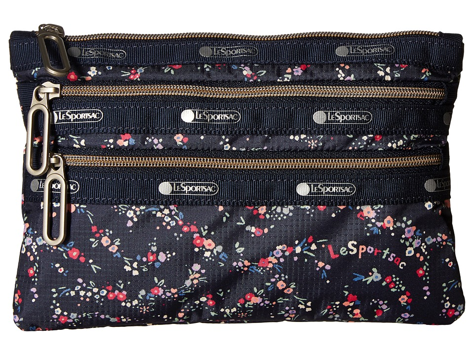 LeSportsac - Classic 3 Zip Pouch (Fairy Floral Blue) Bags