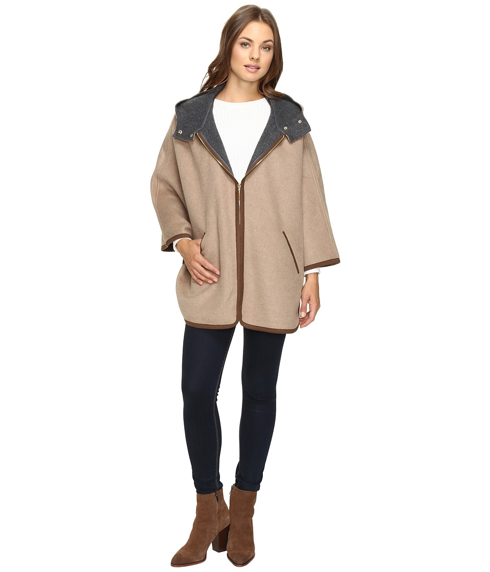 Ellen Tracy - Double Face Hooded Cape (Wheat) Women's Coat