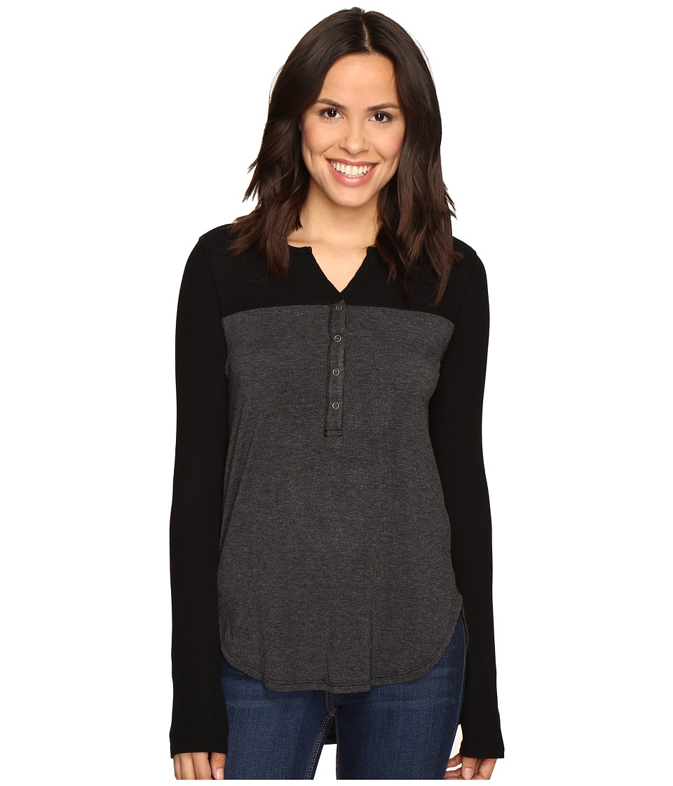 Splendid - Thermal Mixed Media Henley (Black) Women's Long Sleeve Pullover