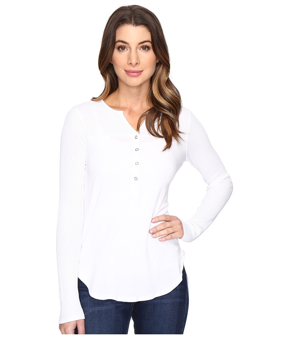 Splendid - Thermal Mixed Media Henley (White) Women's Long Sleeve Pullover