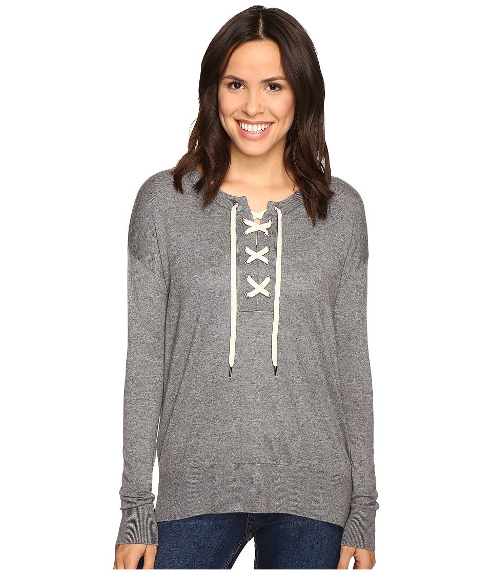 Splendid - Lakewood Henley Pullover (Heather Cinder) Women's Long Sleeve Pullover