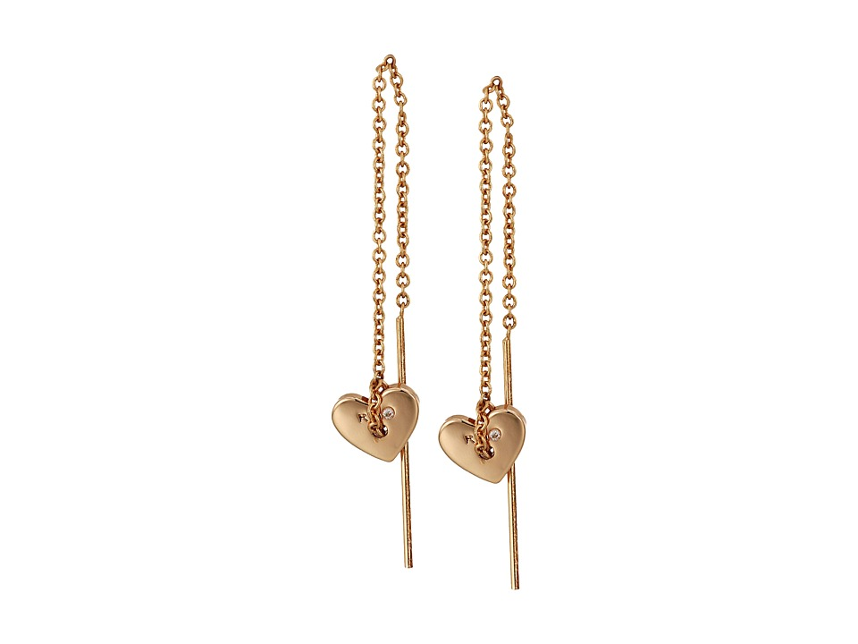Rebecca Minkoff - Heart Threader Earrings (Rose Gold) Earring