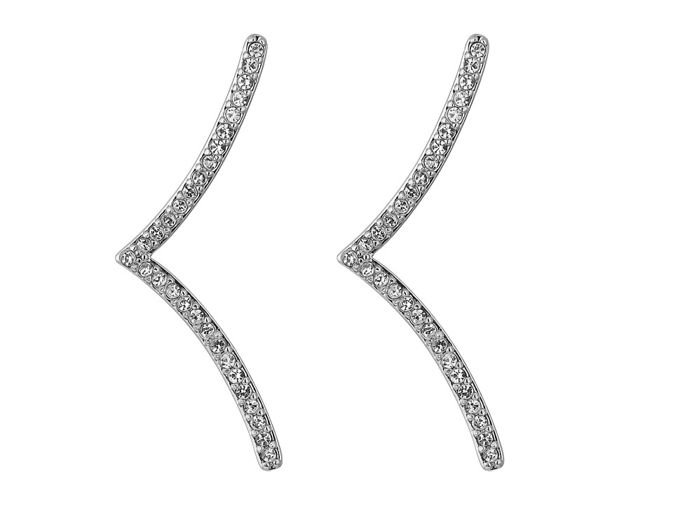 Rebecca Minkoff - Thin V Drop Stud Earrings (Silver/Crystal) Earring