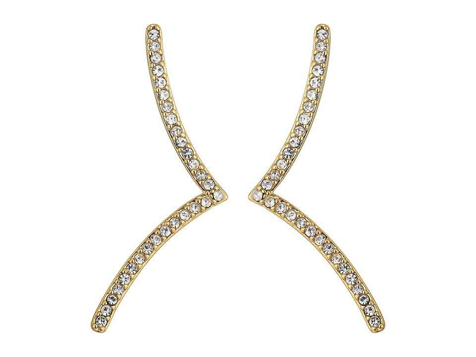 Rebecca Minkoff - Thin V Drop Stud Earrings (Gold/Crystal) Earring