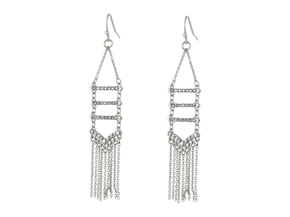 Rebecca Minkoff - Pave + Fringe Chandelier Earrings (Silver/Crystal/Labradorite) Earring