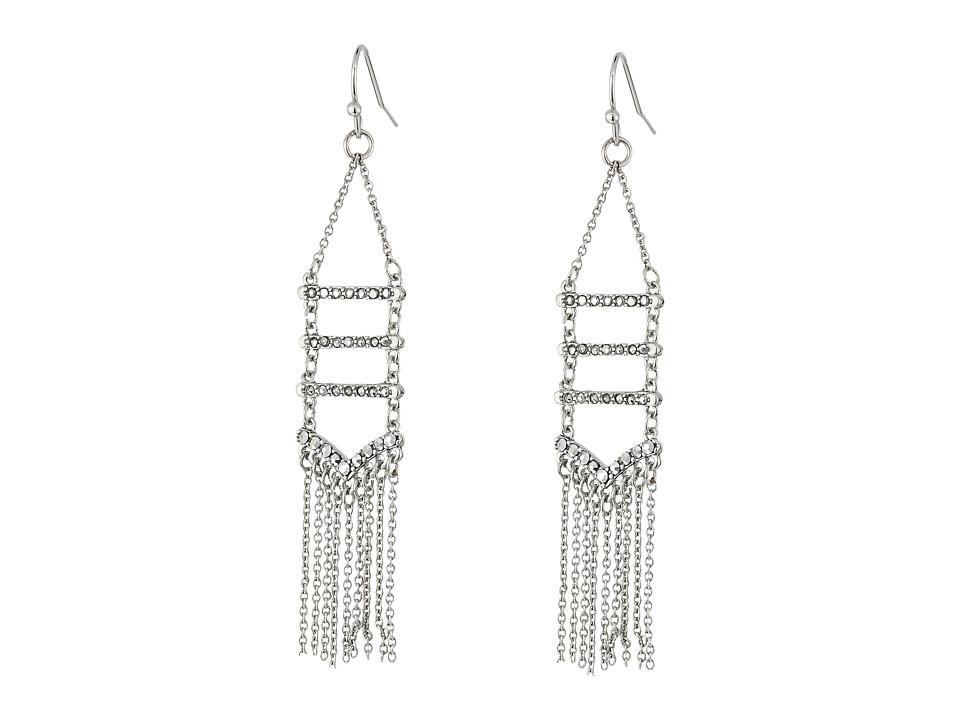 Rebecca Minkoff - Pave + Fringe Chandelier Earrings (Silver/Crystal/Labradorite) Earring