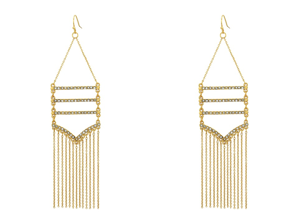 Rebecca Minkoff - Drama Pave + Fringe Chandelier Earrings (Gold/Crystal) Earring