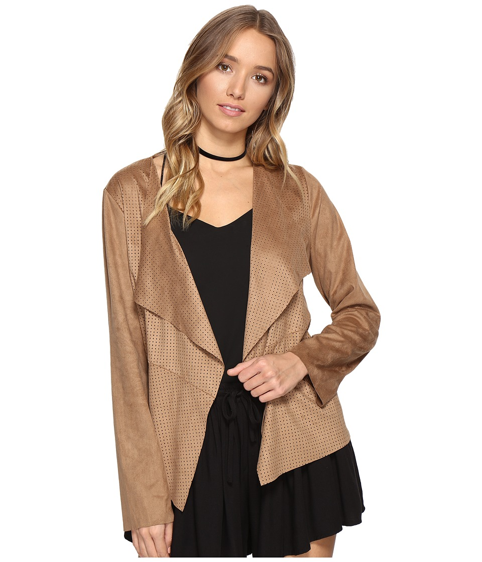 Jack by BB Dakota - Joline Drape Front Perforated Faux Suede Jacket (Sienna) Women's Coat