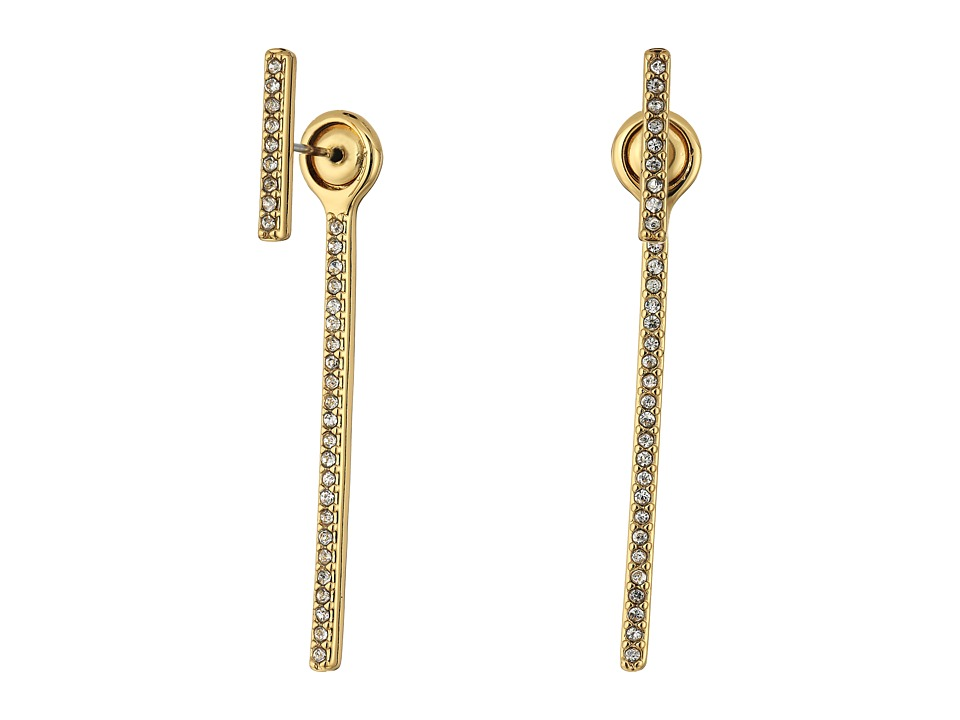 Rebecca Minkoff - Pave Bar Front Back Earrings (Gold/Crystal) Earring