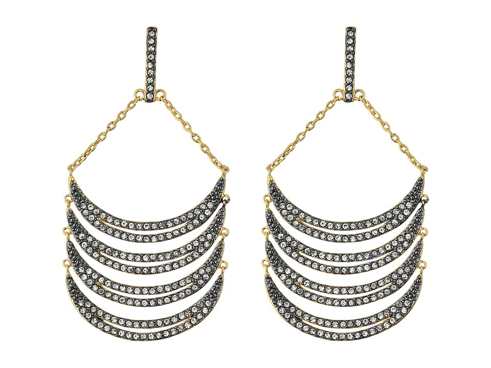 Rebecca Minkoff - Curve Chandelier Earrings (Gunmetal/Crystal) Earring