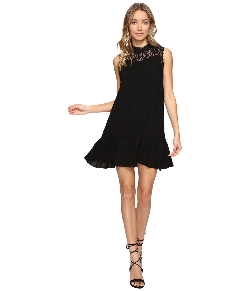 Jack by BB Dakota - Barnes Slub Gauze Lace Dress with Ribbon Trim (Black) Women's Dress