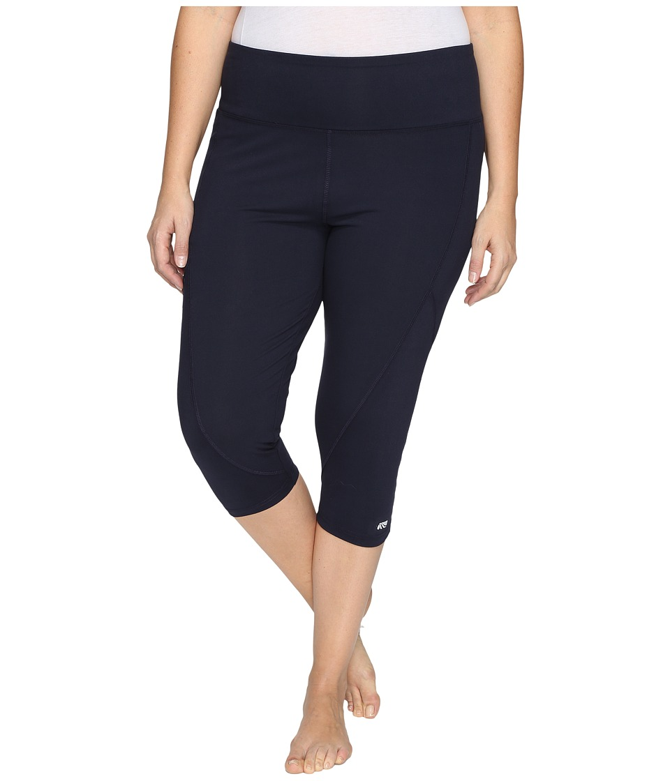Marika Curves - Plus Size Slimming High Rise Capri Leggings (Midnight) Women's Workout