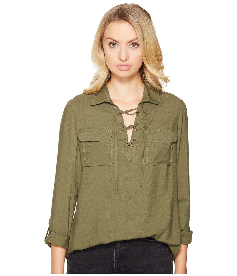 Jack by BB Dakota - Nutmeg Lace-Up Shirt (Fern Green) Women's Clothing