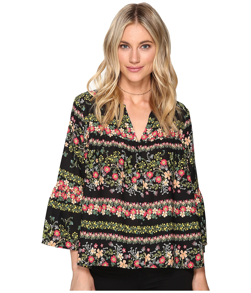 Jack by BB Dakota - Acerola Printed Button Front Shirt (Black) Women's Clothing