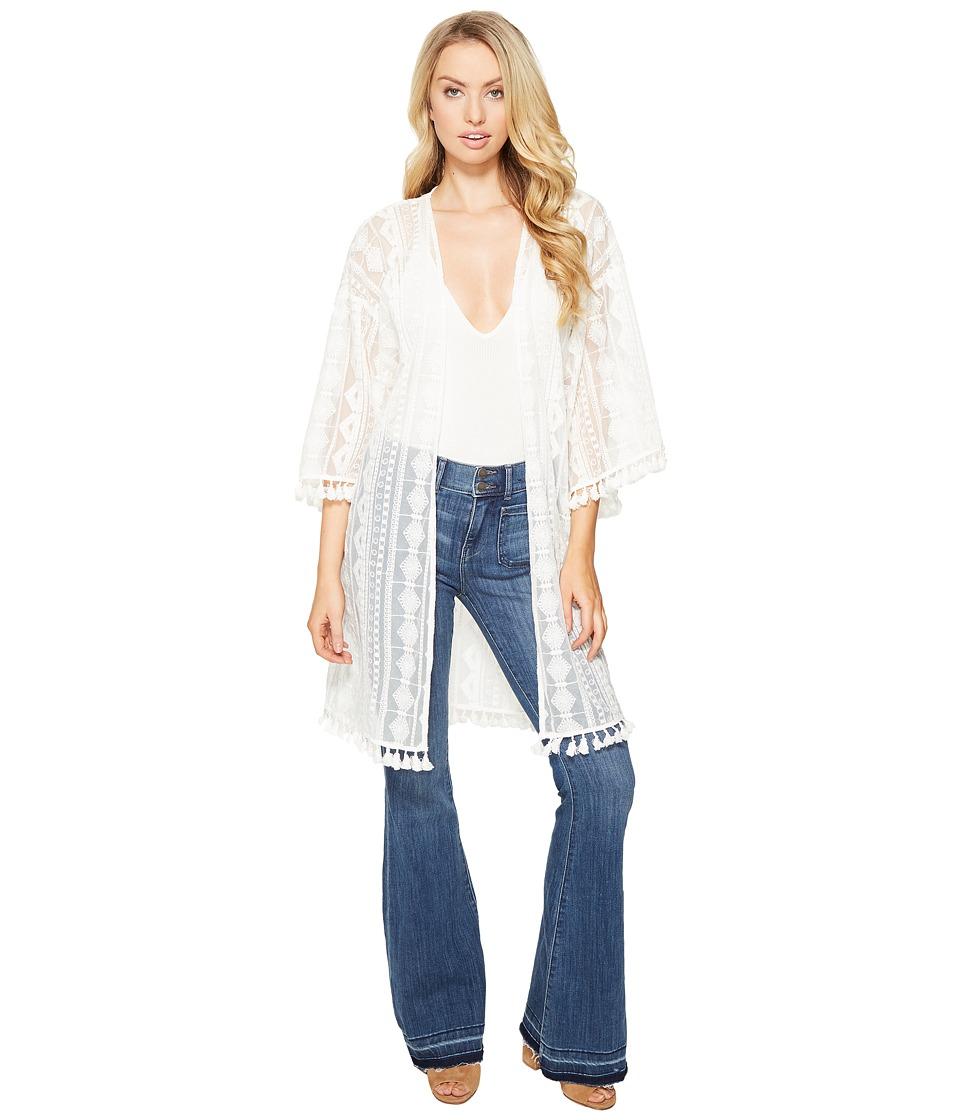 Jack by BB Dakota - Asteria Embroidered Kimono (Bright White) Women's Clothing