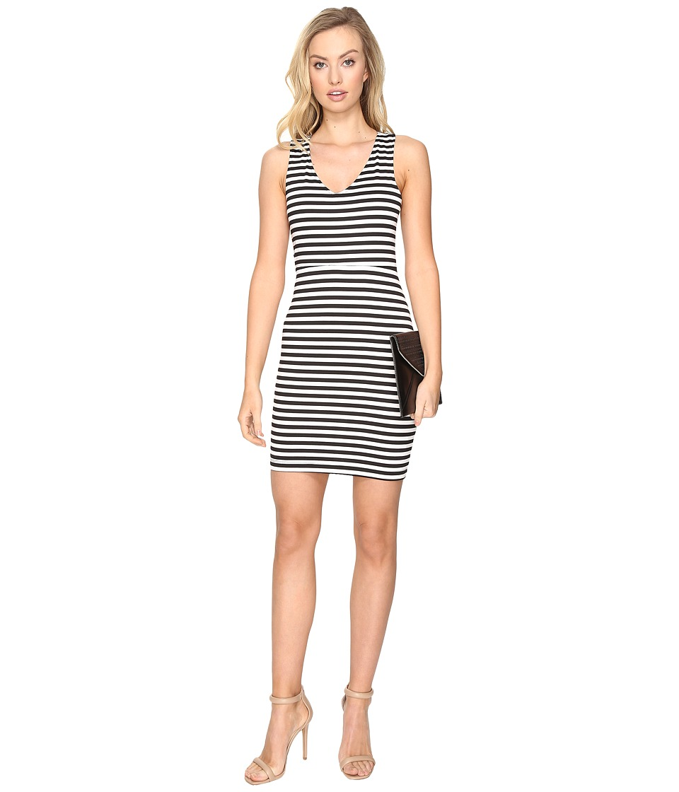 Jack by BB Dakota - Geno Striped Ponte Bodycon Dress (Black) Women's Dress