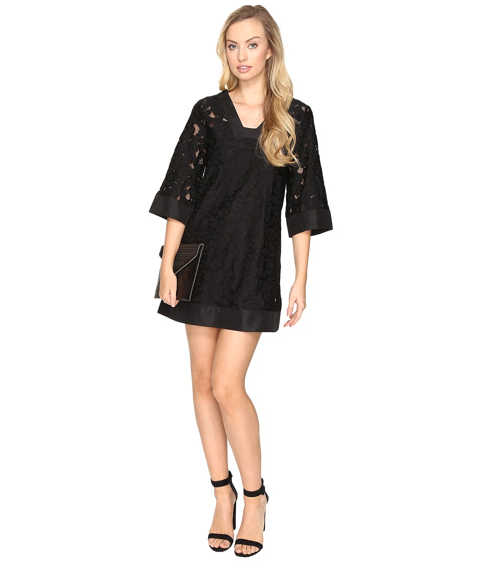 Jack by BB Dakota - Terron Floral Eyelet Shift Dress (Black) Women's Dress