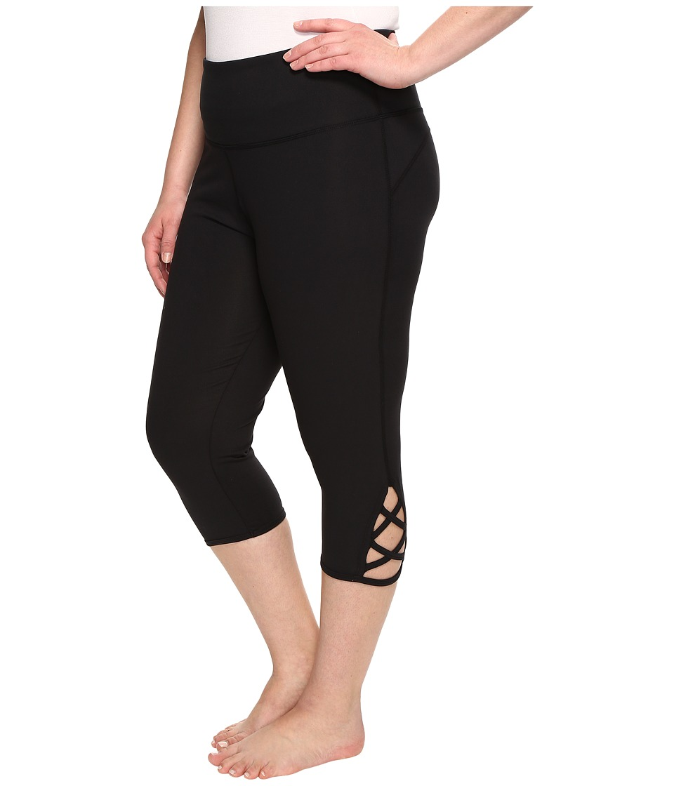 Marika Curves - Plus Size Lace-Up Capri Leggings (Black) Women's Casual Pants