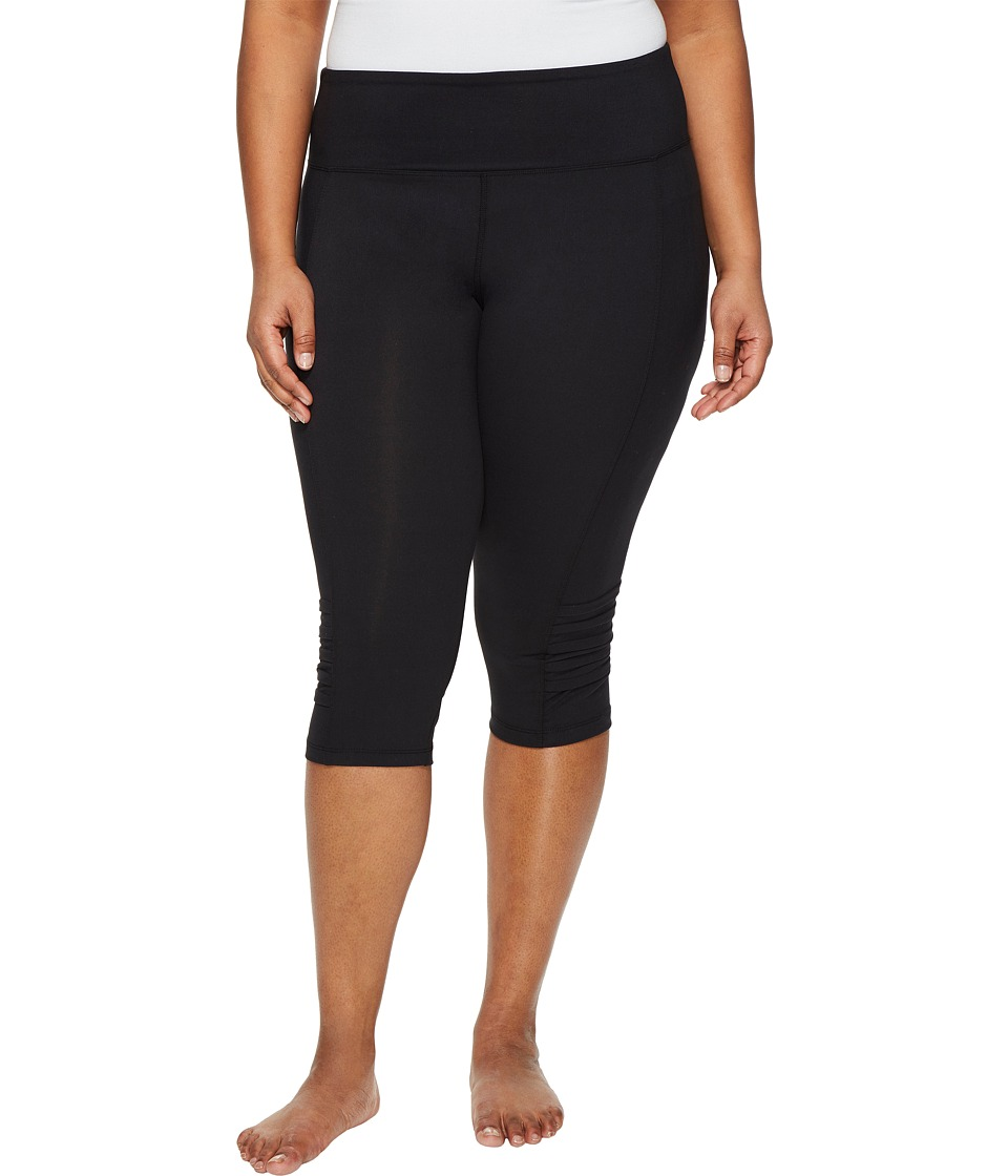 Marika Curves - Plus Size Pleat Capri Leggings (Black) Women's Casual Pants