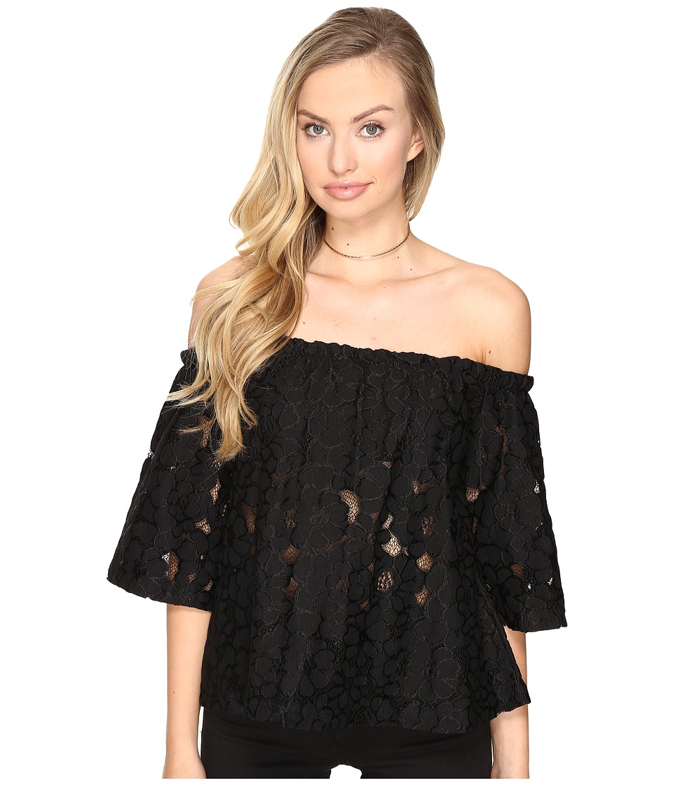 Jack by BB Dakota - Oregano Floral Eyelet Off Shoulder Top with Bra Bandeau Removable Straps (Black) Women's Clothing