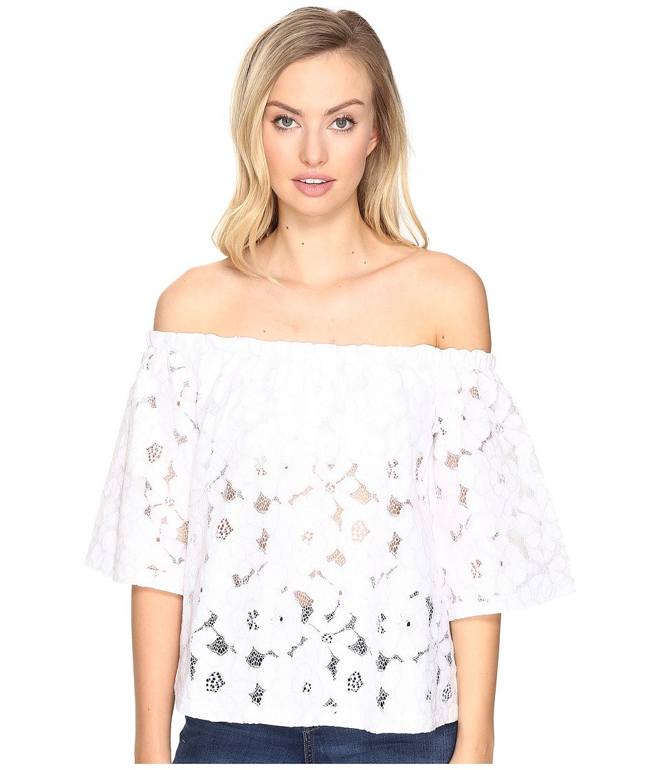Jack by BB Dakota - Oregano Floral Eyelet Off Shoulder Top with Bra Bandeau Removable Straps (Bright White) Women's Clothing