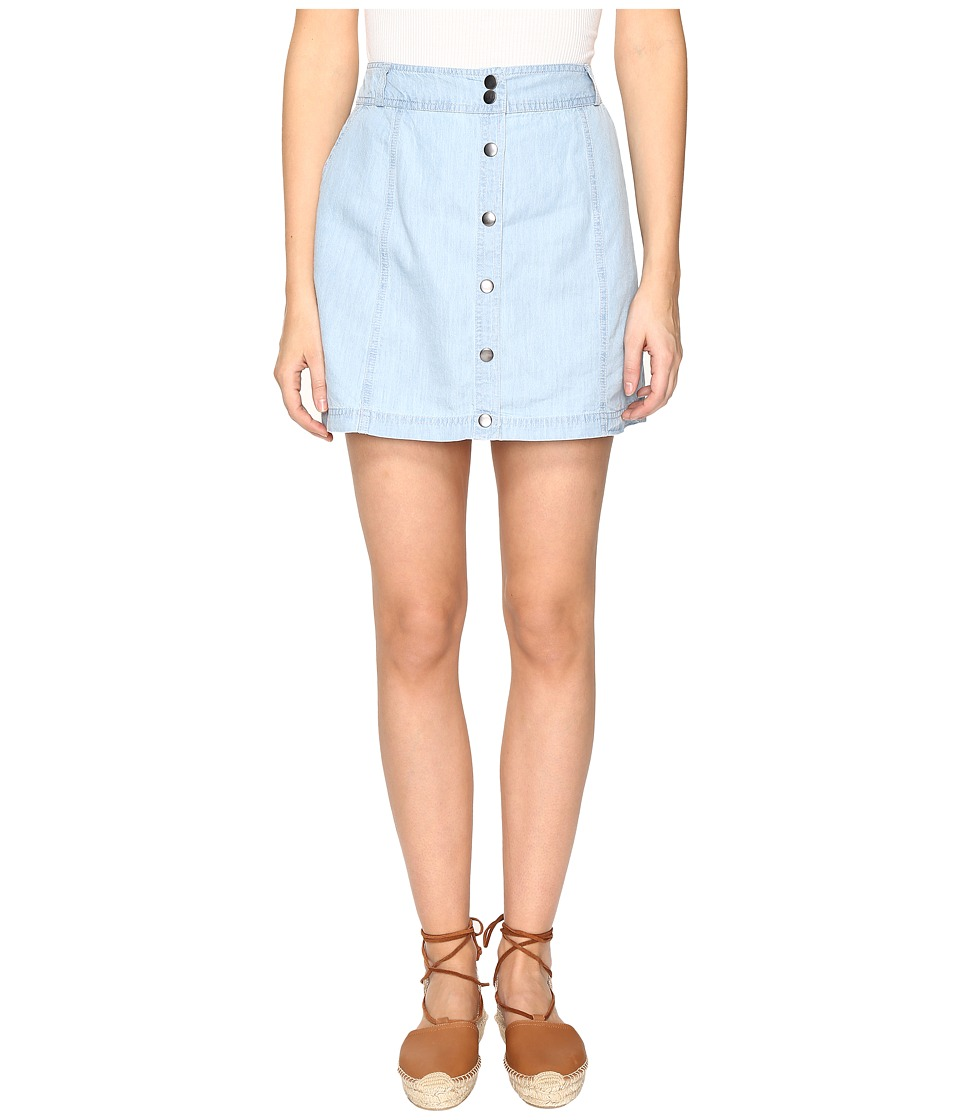 Jack by BB Dakota Starks Button Front Skirt (Washed Our Chambray) Women