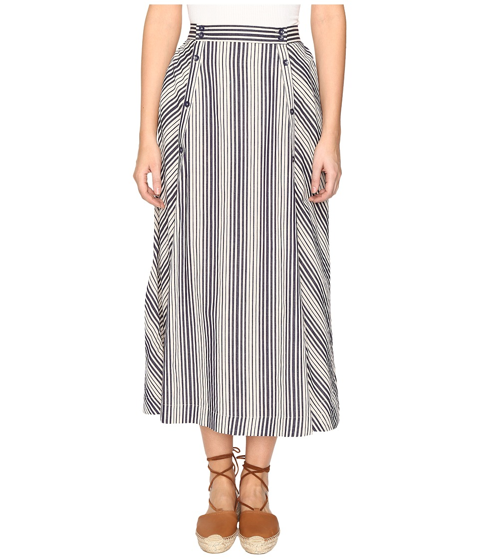 Jack by BB Dakota - Norman Varigated Stripe Button Front Skirt (Lapis Blue) Women's Skirt
