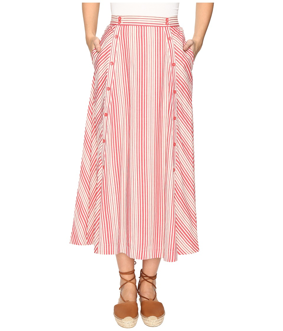 Jack by BB Dakota Norman Varigated Stripe Button Front Skirt (Rococo Red) Women