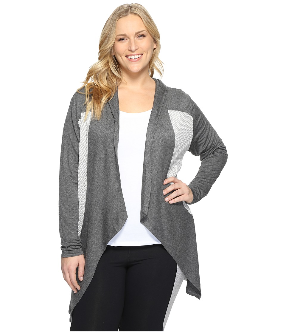 Marika Curves - Plus Size Ruby Long Sleeve Cardigan (Heather Charcoal) Women's Sweater