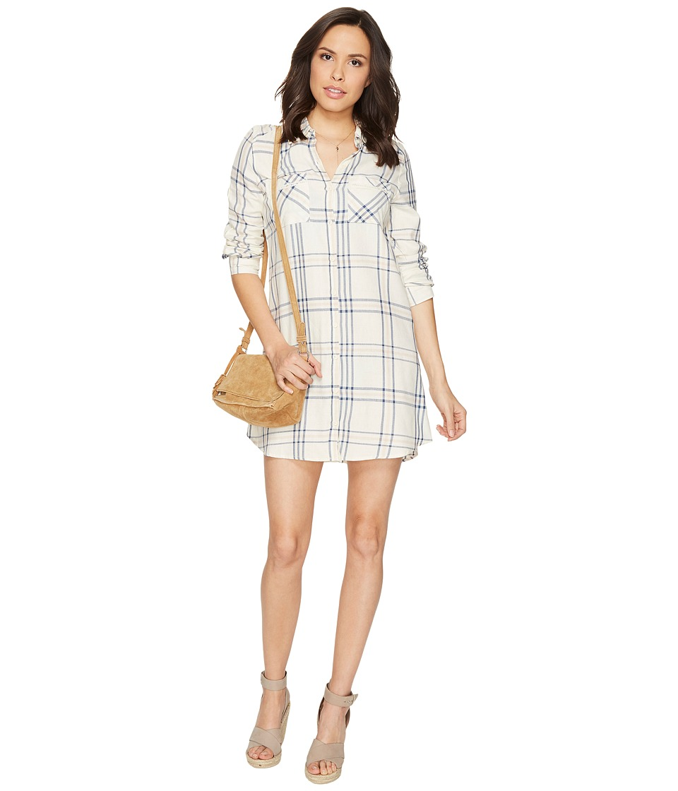 Jack by BB Dakota - Seymour Soft Plaid Tape Trim Long Sleeve Dress (Ivory) Women's Dress