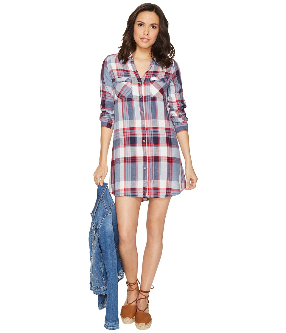 Jack by BB Dakota - Seymour Soft Plaid Tape Trim Long Sleeve Dress (Rococo Red) Women's Dress