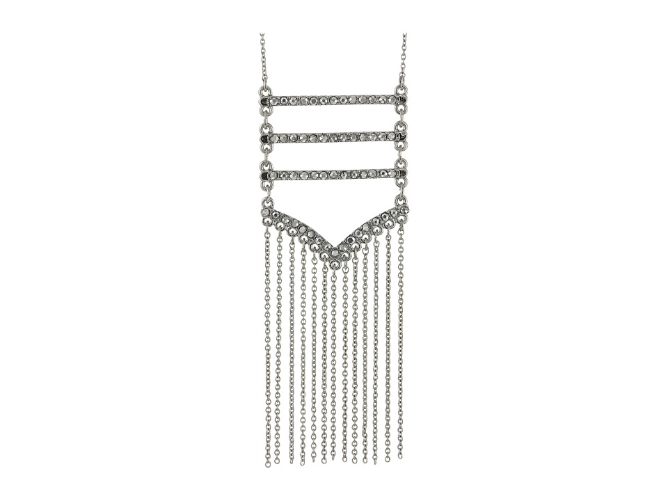 Rebecca Minkoff - Pave + Fringe Pendant Necklace (Silver/Crystal/Labradorite) Necklace