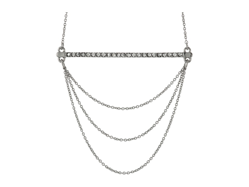 Rebecca Minkoff - Bar + Chain Pendant Necklace (Silver/Crystal/Labradorite) Necklace