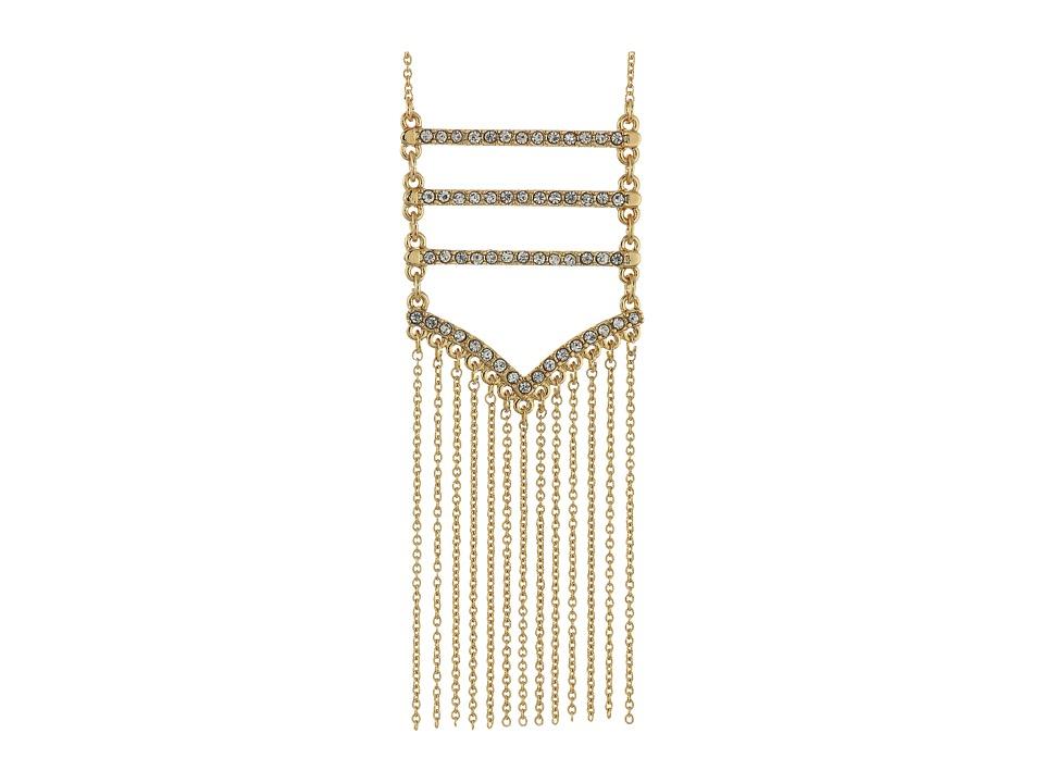 Rebecca Minkoff - Pave + Fringe Pendant Necklace (Gold/Crystal) Necklace
