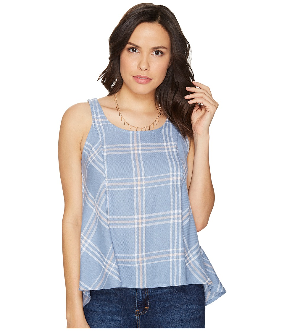 Jack by BB Dakota - Euphrasia Sot Plaid Button Back Tank Top (Stonewash Blue) Women's Sleeveless