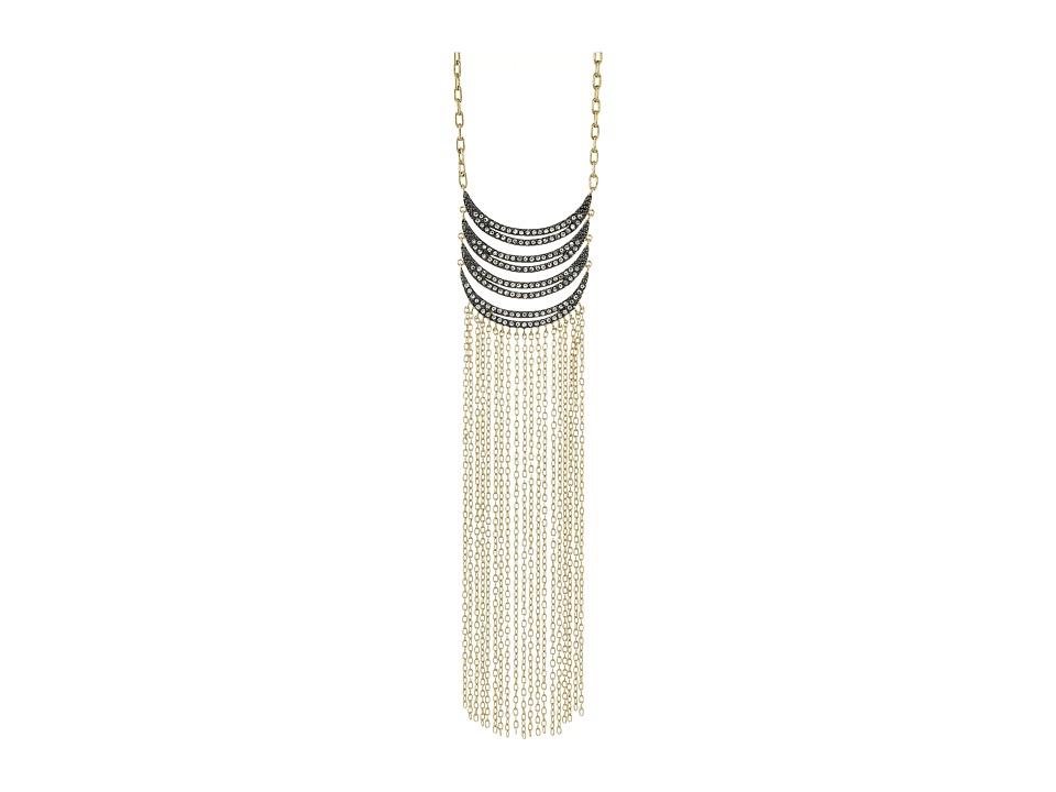 Rebecca Minkoff - Fringe Pendant Necklace (Gold/Gunmetal/Crystal) Necklace