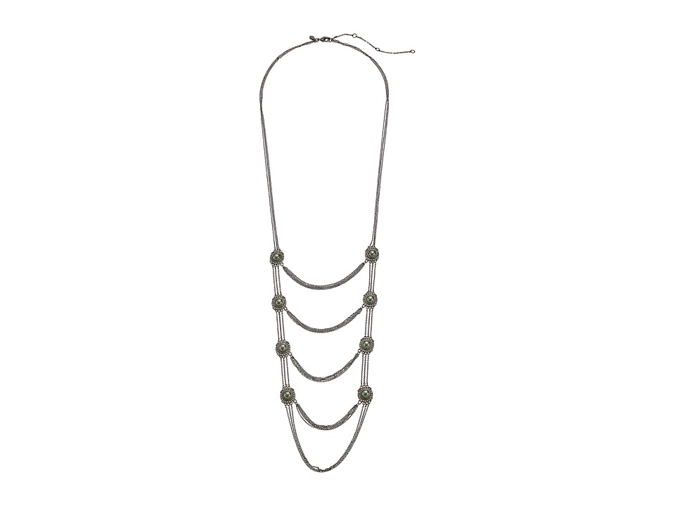 Rebecca Minkoff - Multi Layered Statement Necklace (Gunmetal/Crystal/Tahitian Pearl) Necklace