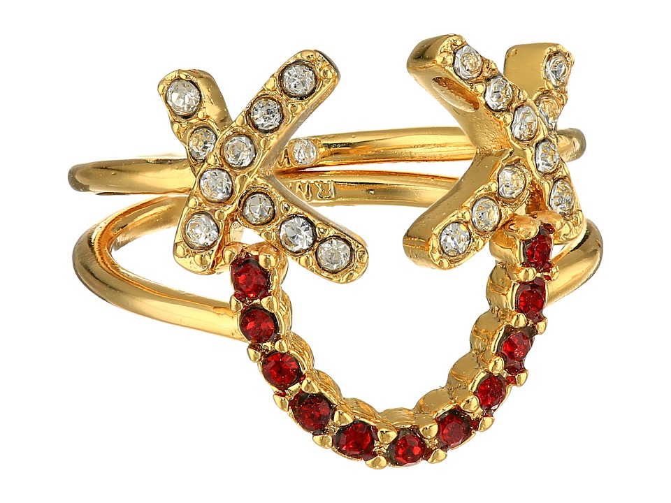 Rebecca Minkoff - Smile Face Ring Set (Gold/Crystal/Red) Ring