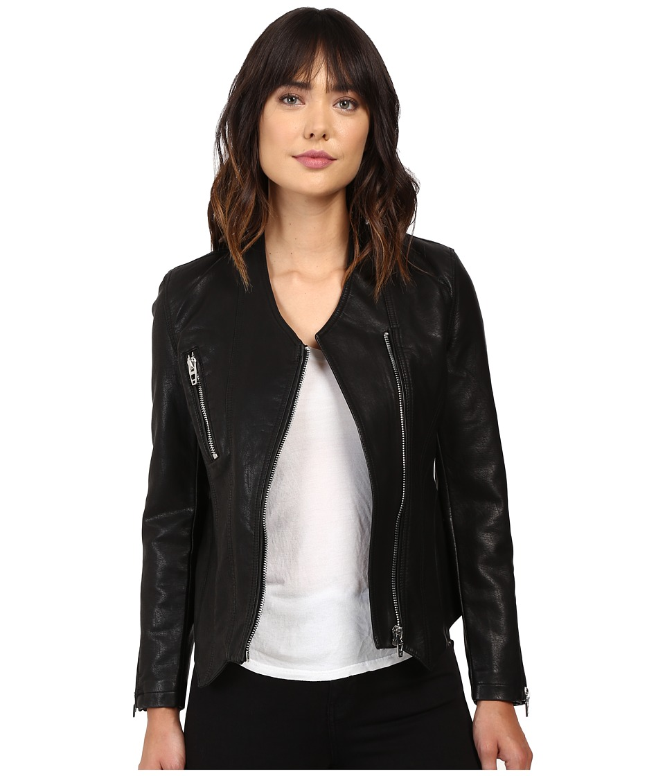 Blank NYC - Vegan Leather Collarless Jacket with Zipper Detail in Power Trip (Power Trip) Women's Coat