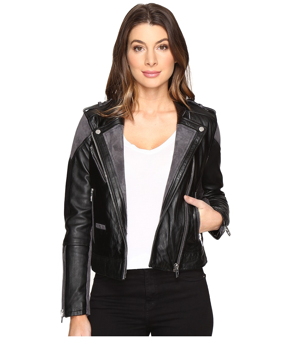 Blank NYC - Real Leather/Suede Moto Jacket with Black and Grey Detail in Vices (Vices) Women's Coat
