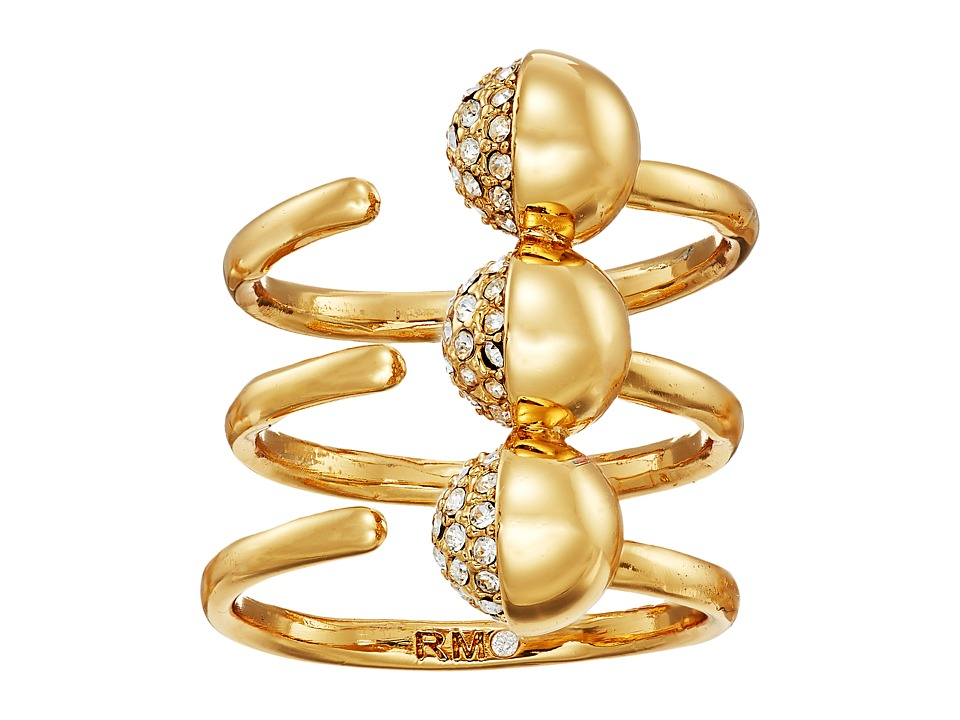 Rebecca Minkoff - Triple Pave Ball Ring (Gold/Crystal) Ring