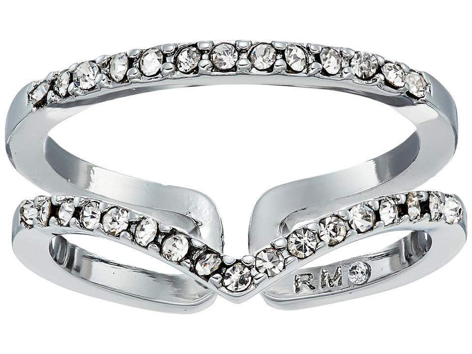 Rebecca Minkoff - Thin V Illusion Ring (Silver/Crystal) Ring