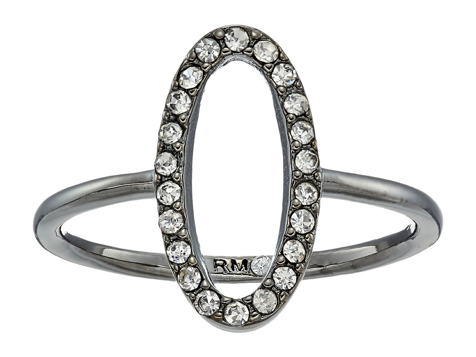 Rebecca Minkoff - 0 Shaped Pave Ring (Hematite/Crystal) Ring