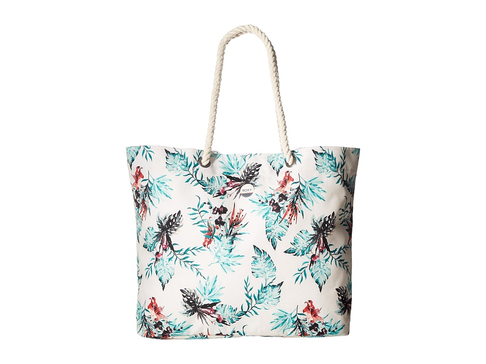 Roxy - Printed Tropical Vibe Beach Tote (Marshmallow Cariban Flowers) Tote Handbags