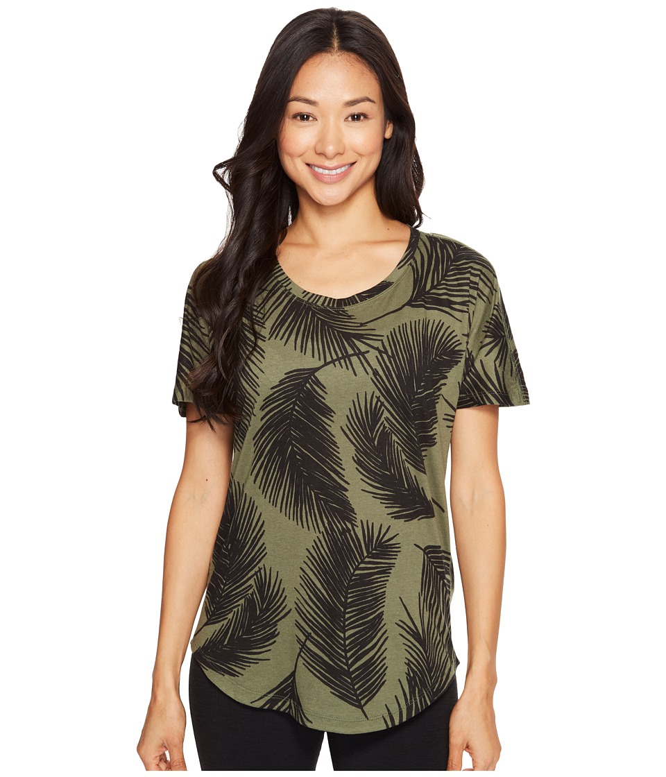 Lucy - Final Rep Printed Short Sleeve (Rich Olive Palm Print) Women's Clothing