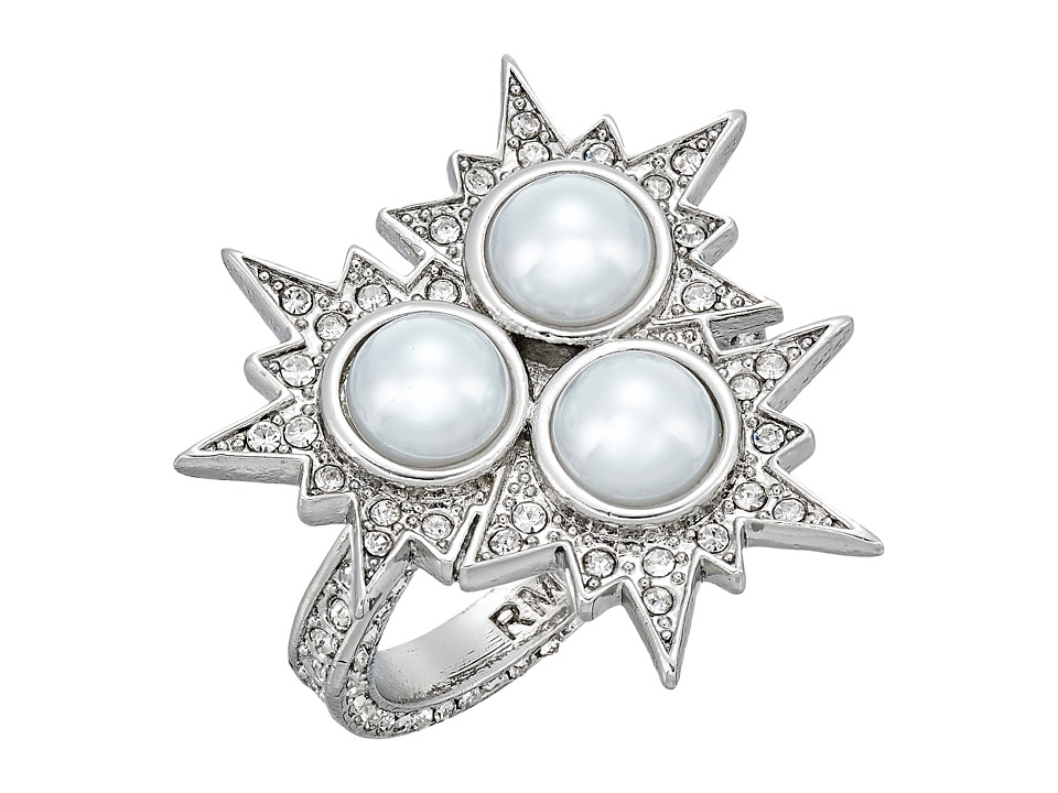 Rebecca Minkoff - Rock N Roll Statement Ring (Silver/Crystal/Pearl) Ring