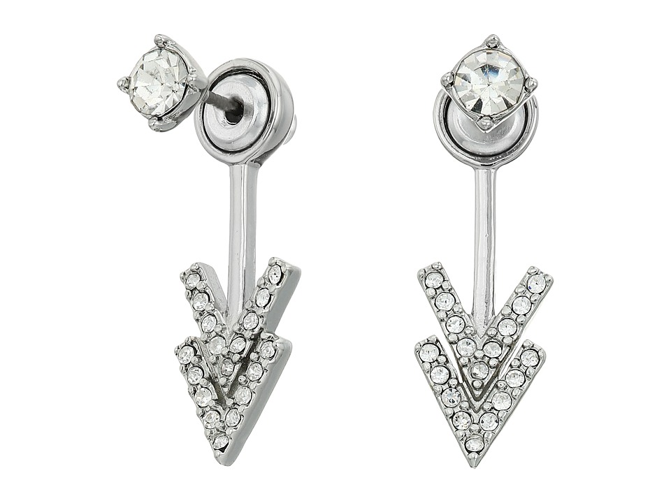 Rebecca Minkoff - Stud Double V Front Back Earrings (Silver/Crystal) Earring