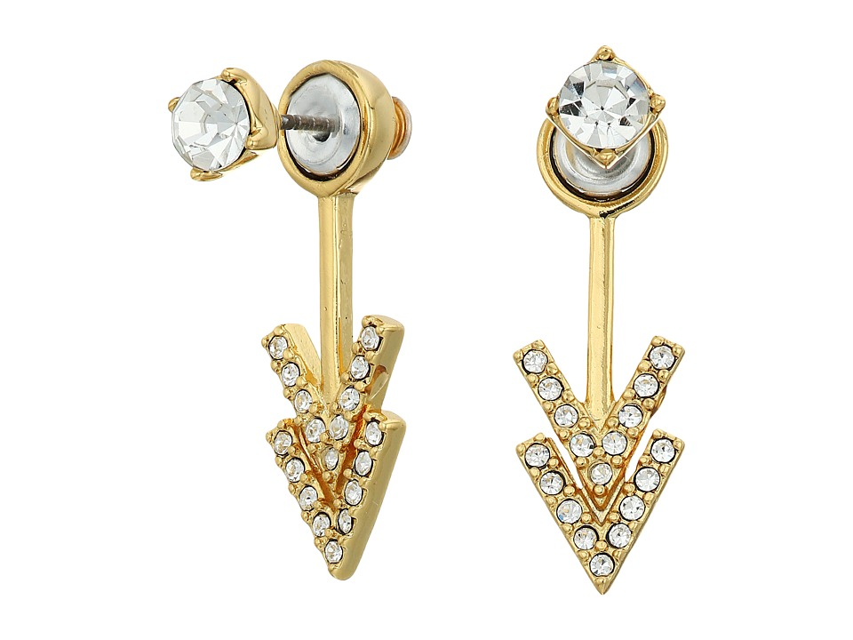 Rebecca Minkoff - Stud Double V Front Back Earrings (Gold/Crystal) Earring