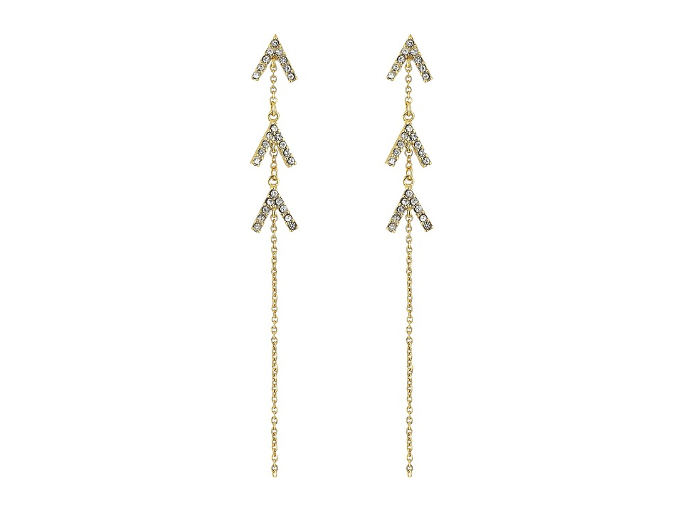 Rebecca Minkoff - Triple V Drop Earrings (Gold/Crystal) Earring